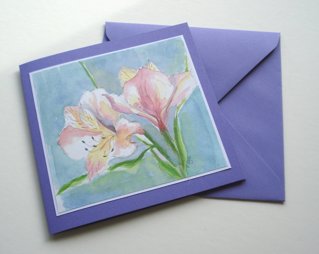 Alstroemeria watercolour painting